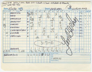 Len Barker Perfect Game Lineup Card